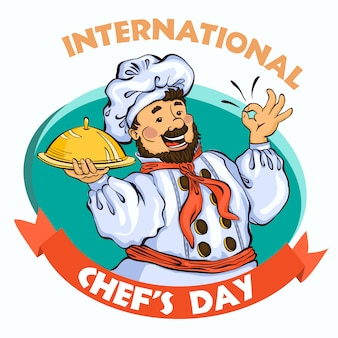 International chef day concept. cartoon illustration of chef day vector concept background