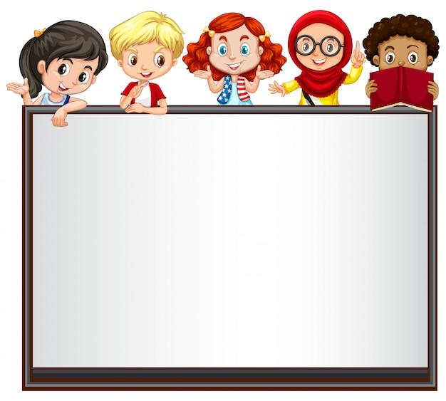 International children on whiteboard