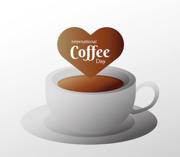 Карта международного дня кофе с керамической чашкой и сердечным векторным дизайном иллюстрации