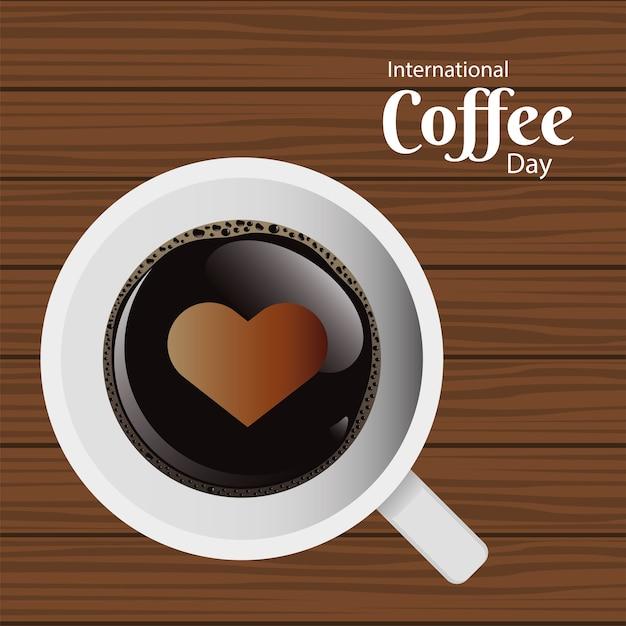 Открытка на международный день кофе с чашкой кофе и воздушным сердцем