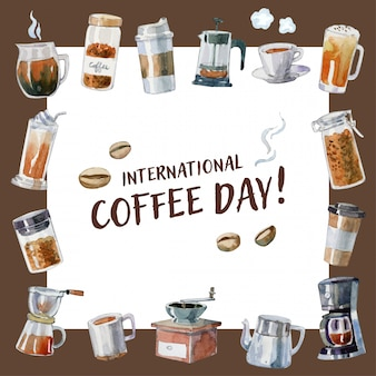 """international coffee day"" card with hand drawn watercolor coffee elements"