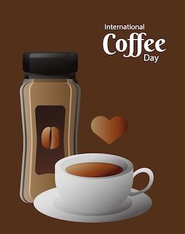 Открытка на международный день кофе с горшечным продуктом и дизайн векторной иллюстрации чашки и сердца