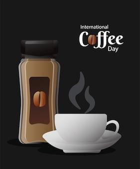 Карта международного дня кофе с горшком продукта и дизайн векторной иллюстрации чашки