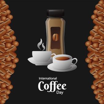 Открытка на международный день кофе с горшечным продуктом и чашками, векторная иллюстрация дизайн