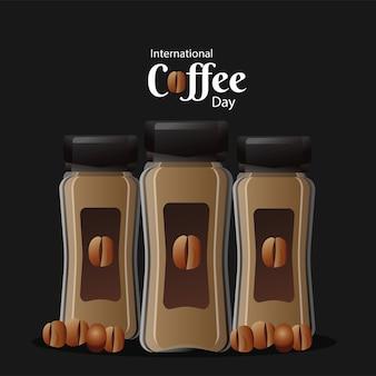 Открытка на международный день кофе с продуктом в горшках и векторной иллюстрацией фасоли