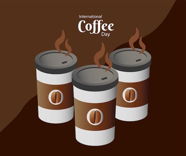 Карта международного дня кофе с тремя пластиковыми контейнерами