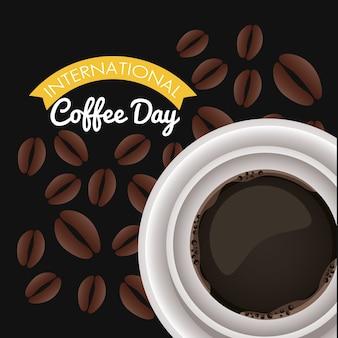 Празднование международного дня кофе с видом на воздух из чашки и зерен