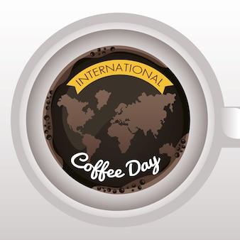 Празднование международного дня кофе с картами планеты земля в воздушной чашке