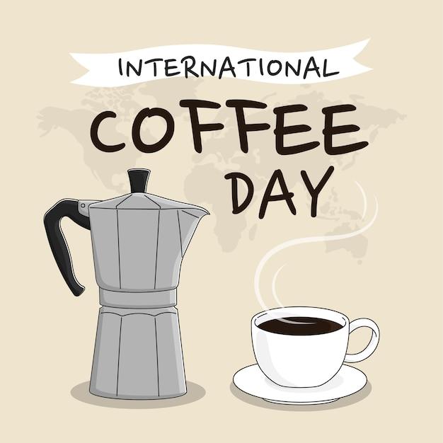 파스텔 배경에 국제 커피의 날 개념