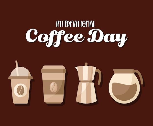 International coffee day icon set design of drink caffeine breakfast and beverage theme. Premium Vector