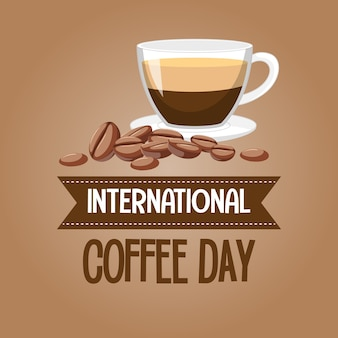 International coffee day letter banner