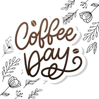 コーヒー豆とレタリング国際コーヒーデー。