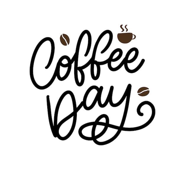 コーヒー豆を使った国際コーヒーの日のレタリング。