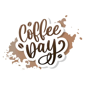 International coffee day lettering