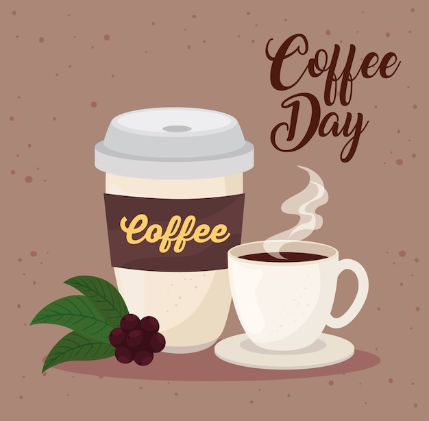 International coffee day poster, 1 october, with ceramic cup and disposable illustration design