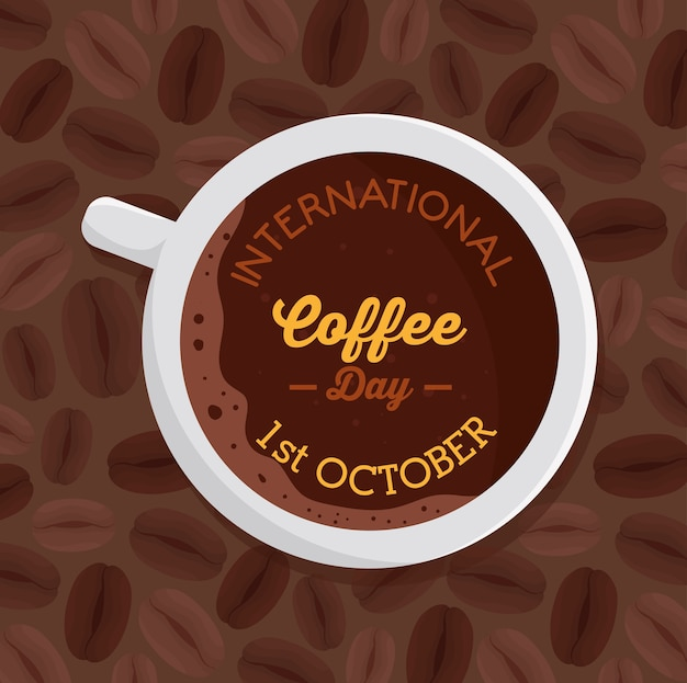 International coffee day poster, 1 october, with view aerial of cup coffee illustration design