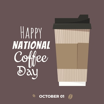 International coffee day poster with coffee cup. vector illustration in cartoon flat style