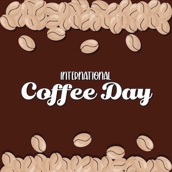 International coffee day with beans design of drink caffeine breakfast and beverage theme.