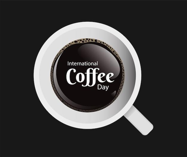 Международный день кофе с чашкой кофе с воздушным представлением