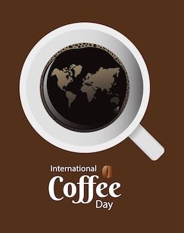 Международный день кофе с чашкой кофе и земными картами с воздушным видом, векторная иллюстрация