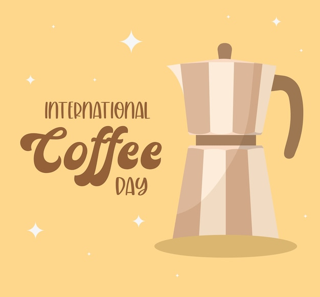 International coffee day with kettle design of drink caffeine breakfast and beverage theme.