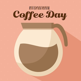 International coffee day with pot design of drink caffeine breakfast and beverage theme.