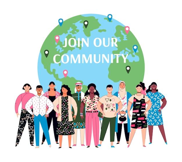 International community business partnership, illustration isolated.