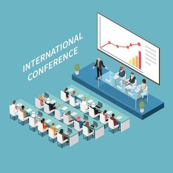 Composizione isometrica di presentazione del grande schermo lcd della sala conferenze internazionale con relatore e partecipanti sul podio