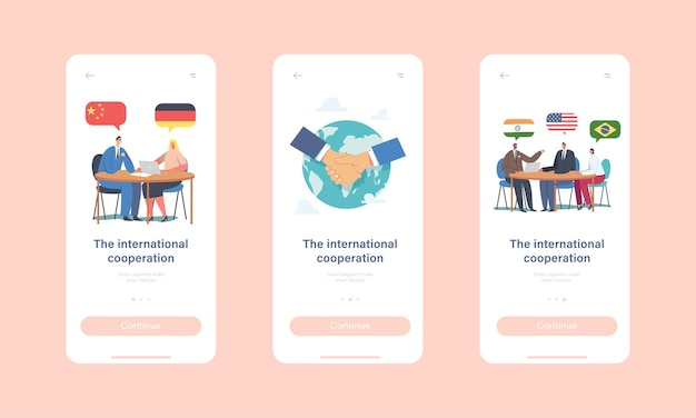 国際協力モバイルアプリページオンボード画面テンプレート。世界の問題、交渉、外交、円卓会議での会議を解決するキャラクターを代表します。漫画の人々のベクトル図