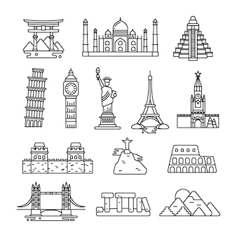 International country landmark vector line icons