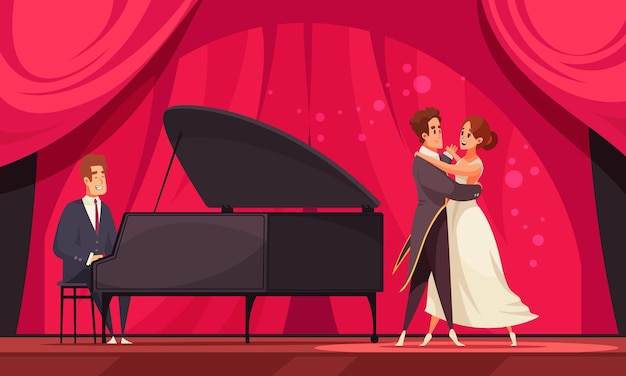 International dance day flat illustration with pair of dancers performing waltz to accompaniment of piano illustration