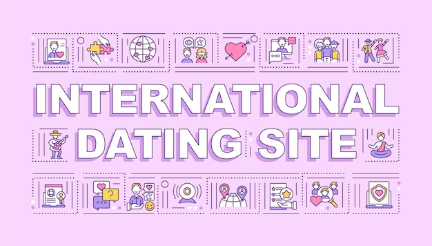 International dating site word concepts banner. meeting new partners online. infographics with linear icons on pink background. isolated typography.  outline rgb color illustration