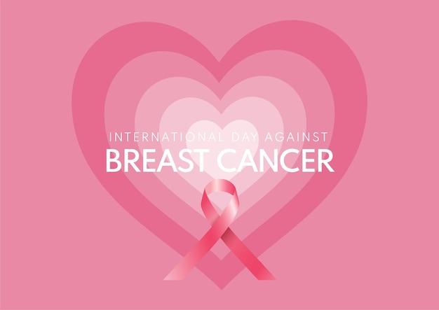 핑크 리본 디자인으로 유방암 배경에 반대하는 국제의 날
