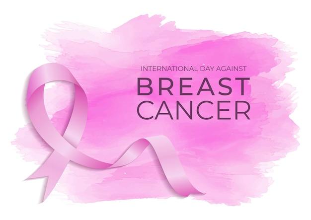 유방암 수채화 배경 디자인에 반대하는 국제의 날