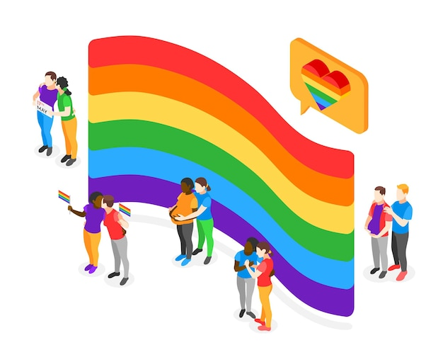 International day against homophobia isometric concept with some loving lgbt and gay couples