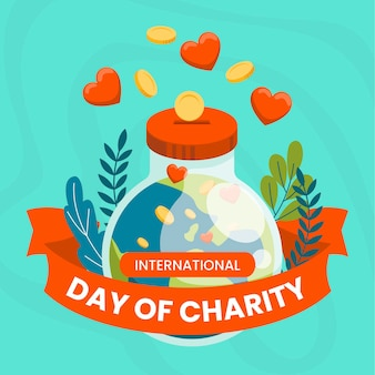 International day of charity background flat design