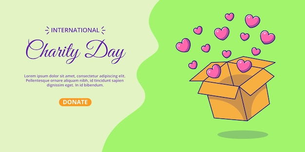 International day of charity banner with box of hearts cartoon illustration.