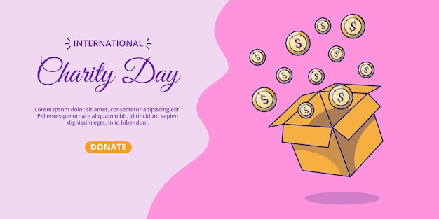 International day of charity banner with box of money cartoon illustration.