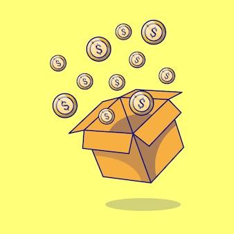 International day of charity box of money cartoon icon concept illustration.