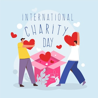 International day of charity in flat design