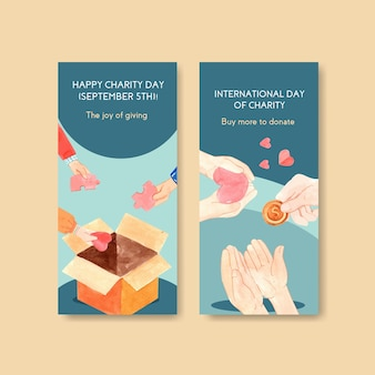 International day of charity flyer concept design with brochure and leaflet watercolor.