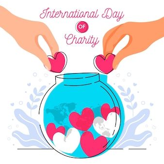 International day of charity hand drawn background with hearts