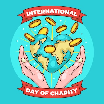 International day of charity with earth and coins