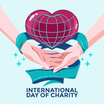 International day of charity with hands and heart