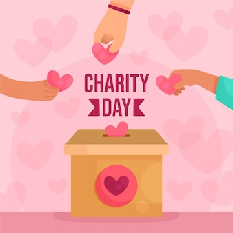 International day of charity with hands and hearts