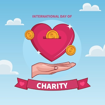 International day of charity with heart and coin