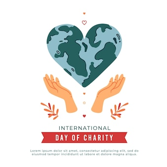 International day of charity with heart-shaped planet
