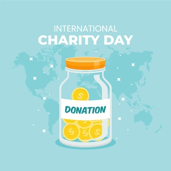 International day of charity with jar of coins