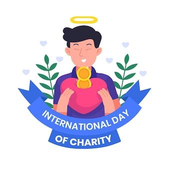 Giornata internazionale della carità con uomo che tiene il cuore