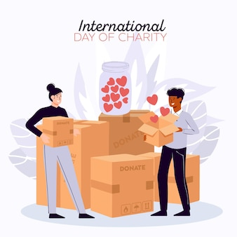 International day of charity with people and boxes